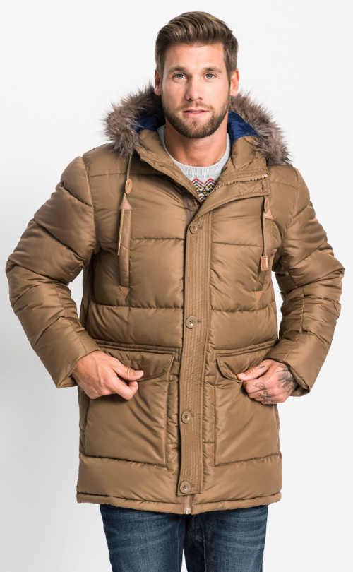 Hnědá pánská zimní bunda s velkými předními kapsami