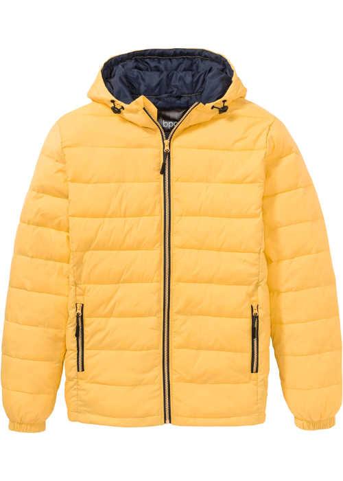 Pánská prošívaná bunda ve žlutém provedení s kontrastními detaily