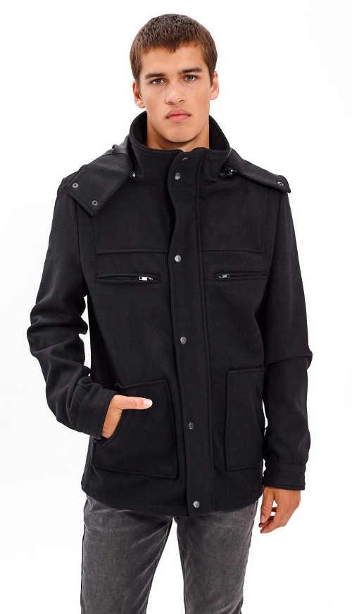 Pánský kabát z vlněné směsi v moderním střihu s kapucí