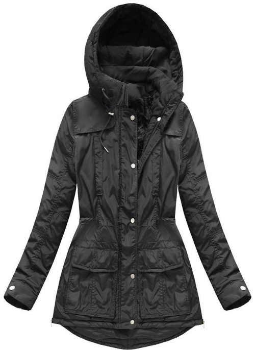černá dámská bunda v prodloužené délce