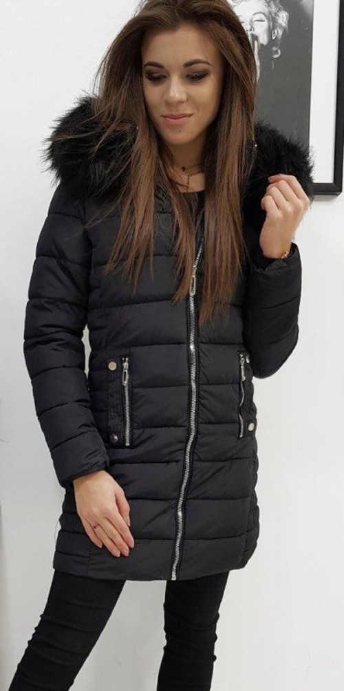 Černá prodloužená dámská zimní bunda levně