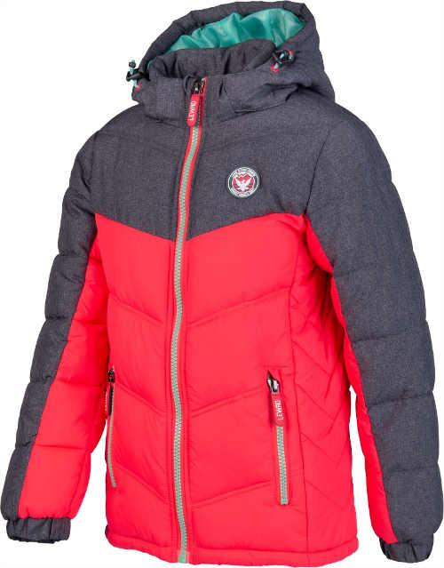 červeno-šedá prošívaná dětská bunda