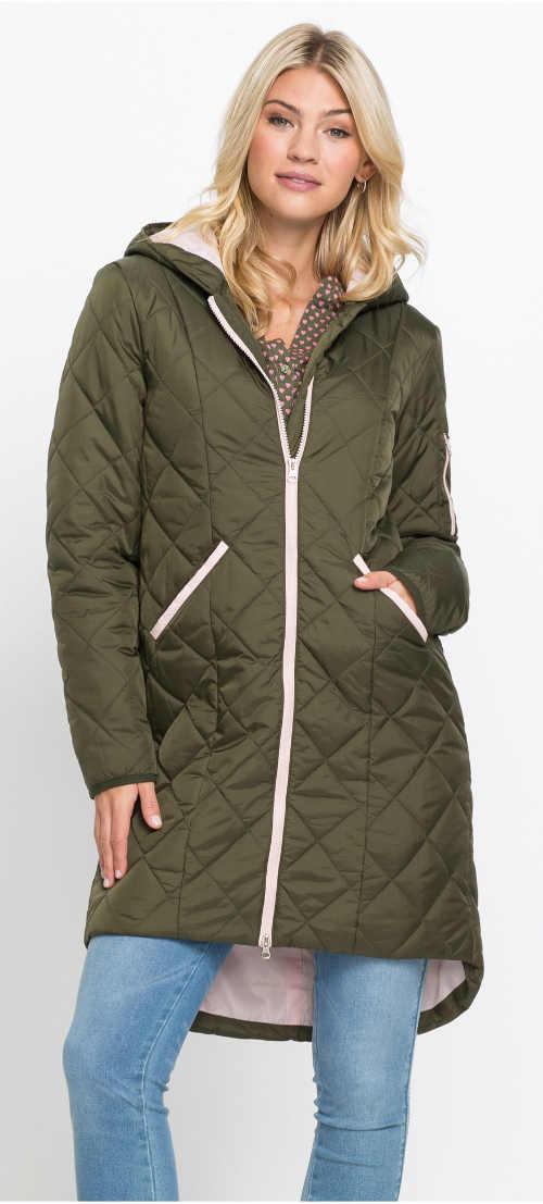Další prošívaný dámský zimní kabát khaki barvy
