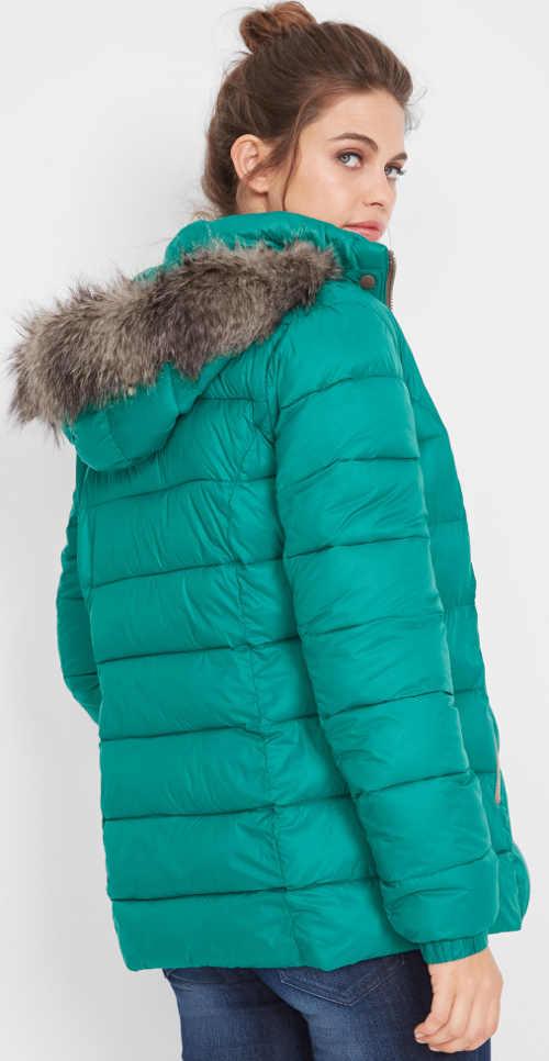 Dámská zimní bunda v zářivé zelené barvě