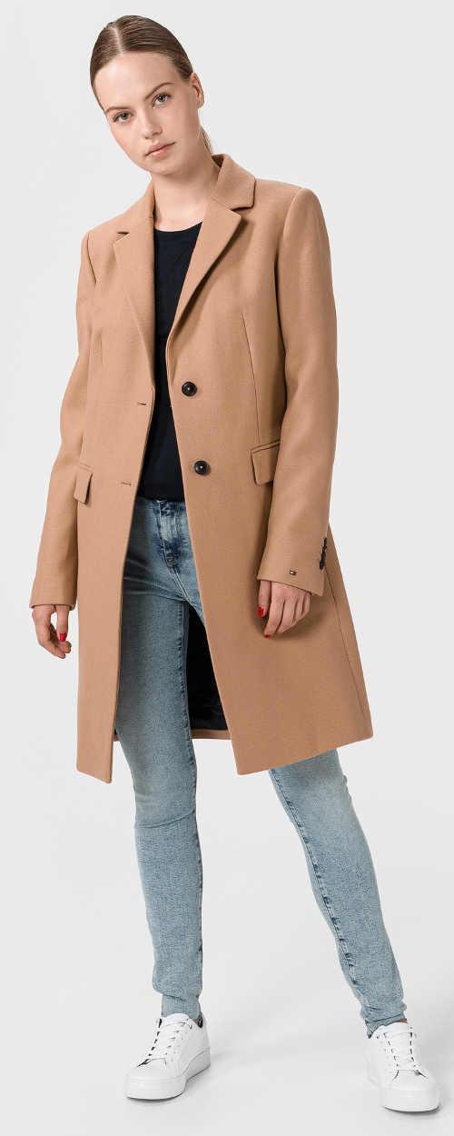 Dlouhý béžový dámský kabát Tommy Hilfiger