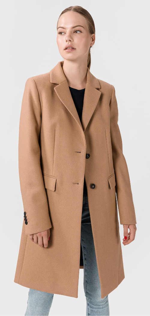 Elegantní dámský kabát světle hnědá barva