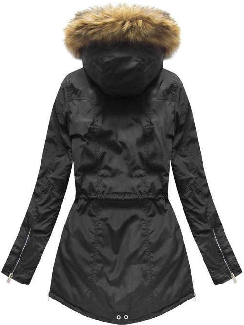moderní dámská bunda s kapucí a kožešinovým lemem