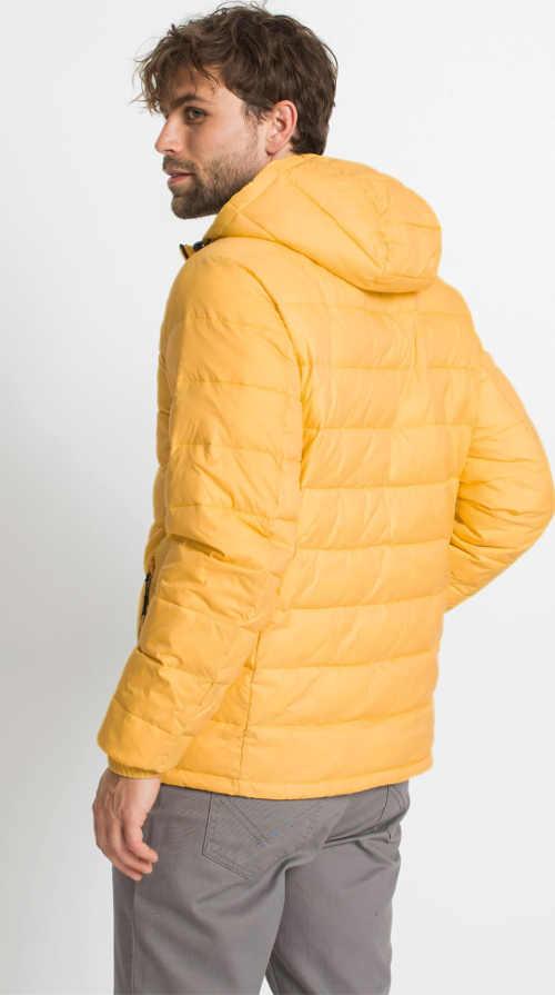 pánská prošívaná bunda žlutá s černými detaily