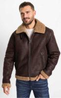 Tmavě hnědá kožená pánská zimní bunda