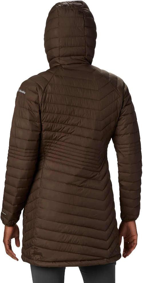 prošívaná dámská bunda dlouhá s kapucí