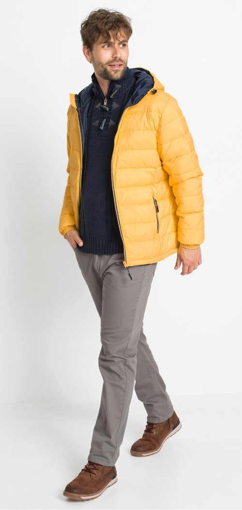 prošívaná pánská bunda žlutá s kapucí