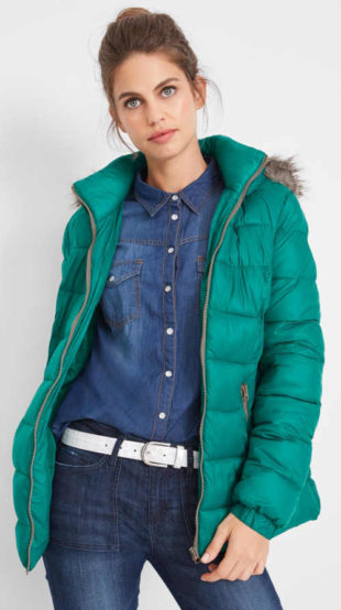 Smaragdově zelená dámská zimní bunda s teplou podšívkou
