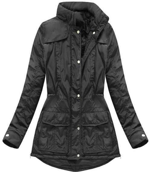 stylová bunda s kapucí v černém provedení