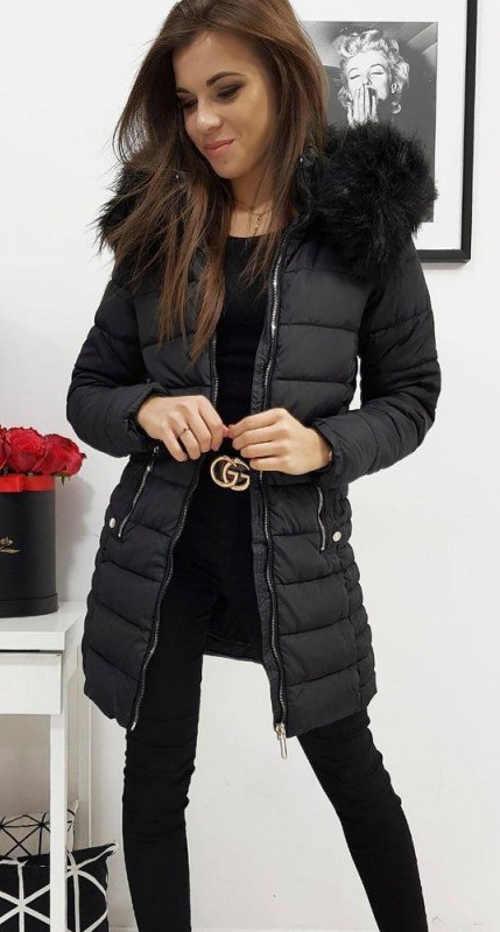 Stylová černá dámská zimní bunda prodlouženého střihu