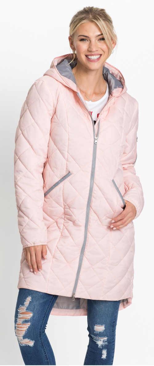 Světle růžový dlouhý prošívaný dámský zimní kabát