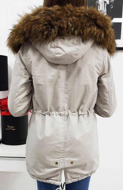 Světle šedá dámská zimní bunda s hnědým kožíškem