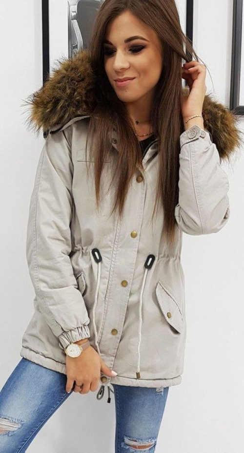Světle šedá dámská zimní bunda se stahovací šňůrkou v pase