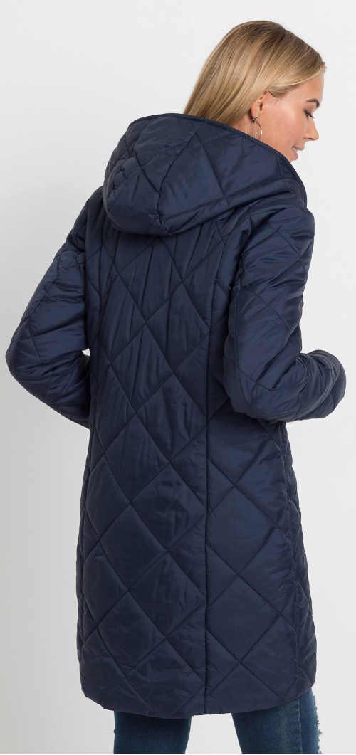 Tmavě modrá prodloužená dámská prošívaná zimní bunda s kapucí