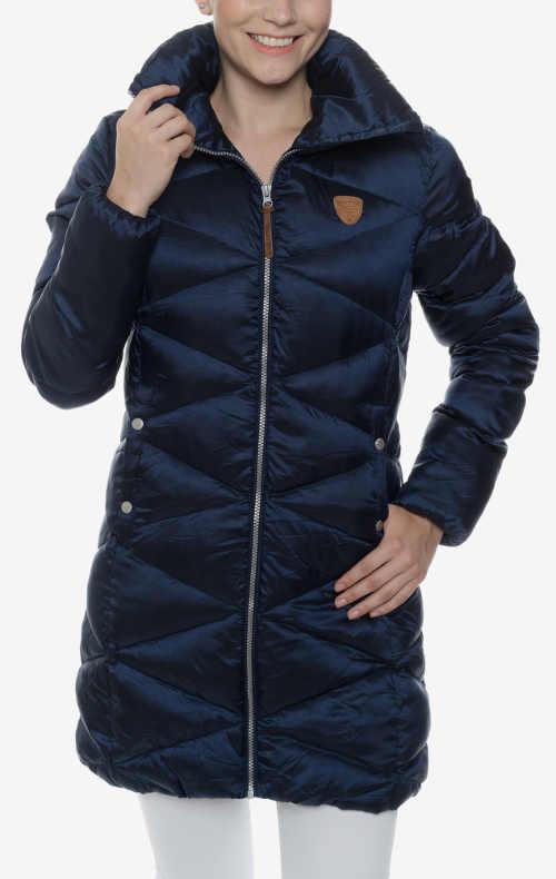 Tmavě modrý prošívaný dámský zimní kabát levně