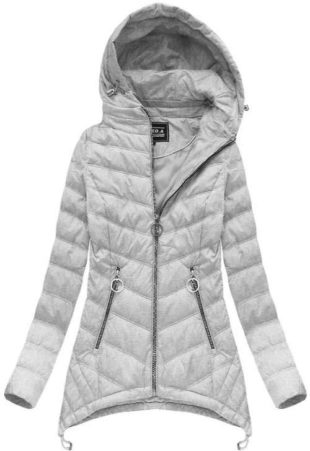 Dámská šedá bunda s kapucí v prodloužené délce