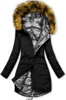 Oboustranná zimní bunda v černo-stříbrné kombinaci