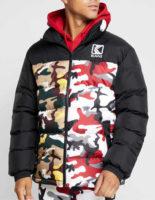 Pánská zimní prošívaná bunda s vyšším límcem v army stylu