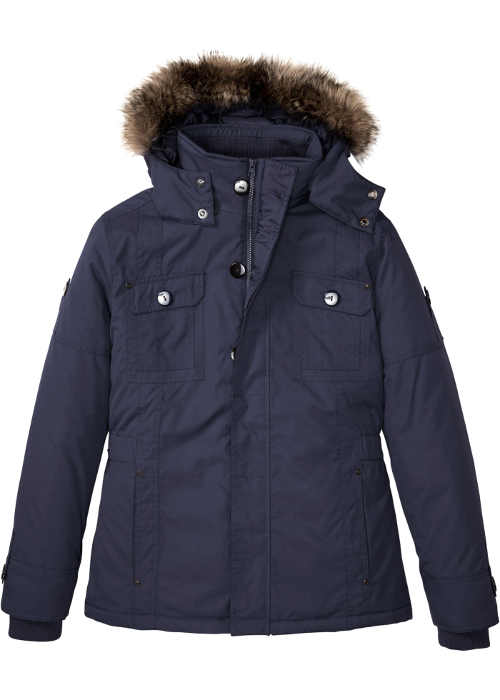 Pánská tmavě modrá bunda do města i na hory s kapucí