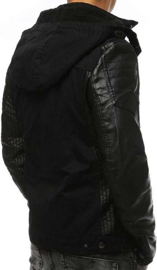 Černá pánská zimní bunda s koženými rukávy