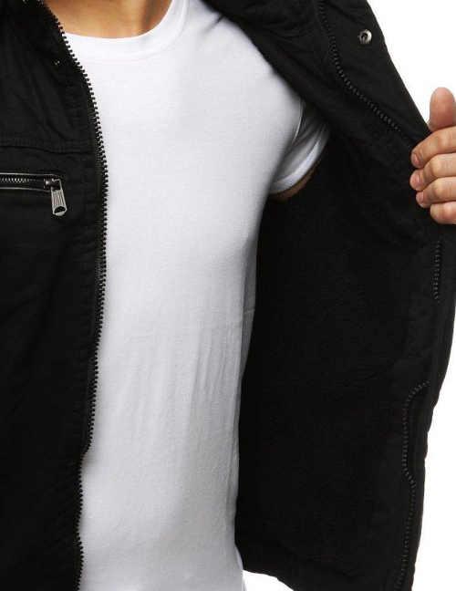 Černá pánská zimní bunda s teplou podšívkou