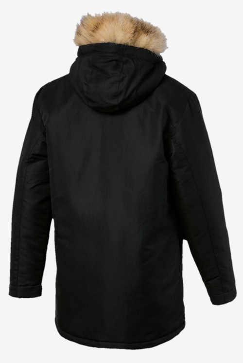 Černá pánská zimní bunda se světle hnědým kožíškem
