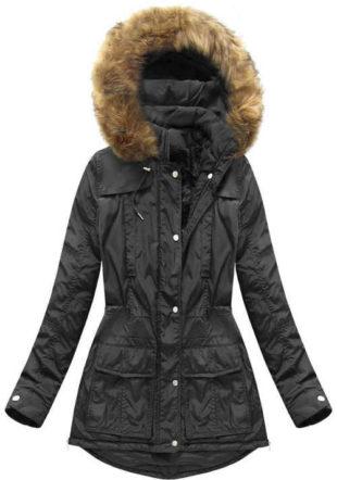 černá zimní bunda v prodloužené délce