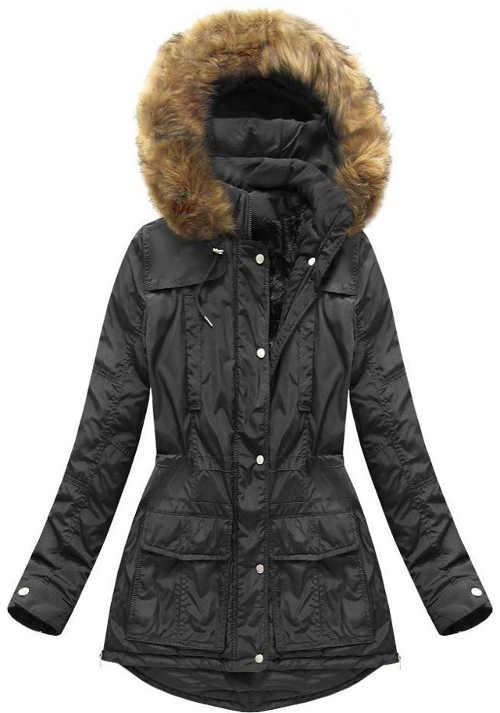Moderní dámská prošívaná bunda v prodloužené délce s kapucí