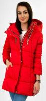 Červená dámská zimní bunda se stříbrnými zipy