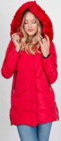 Červená dámská zimní XXL bunda se zipem a patentkami