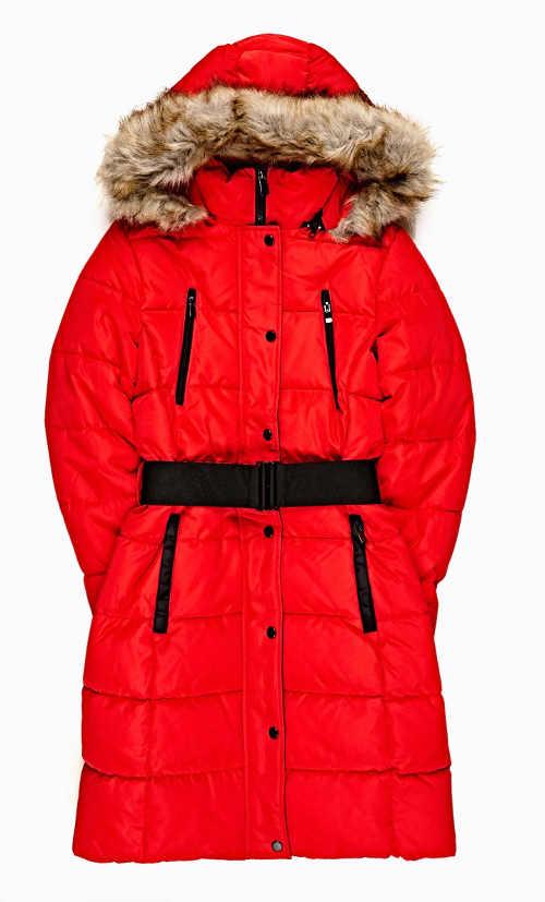 dámská bunda na zimu s páskem a kapucí