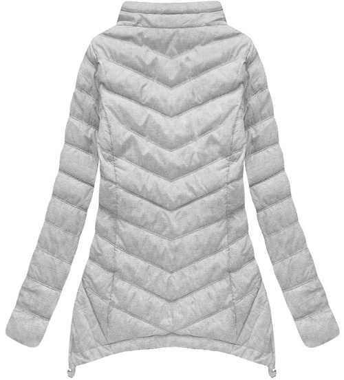 dámská bunda v asymetrickém zakončení s kapucí