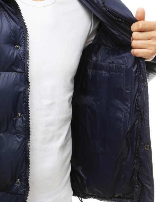Mimořádně hřejivá modrá pánská zimní bunda