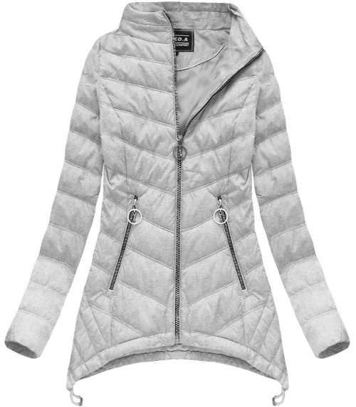moderní bunda prošívaná šedá