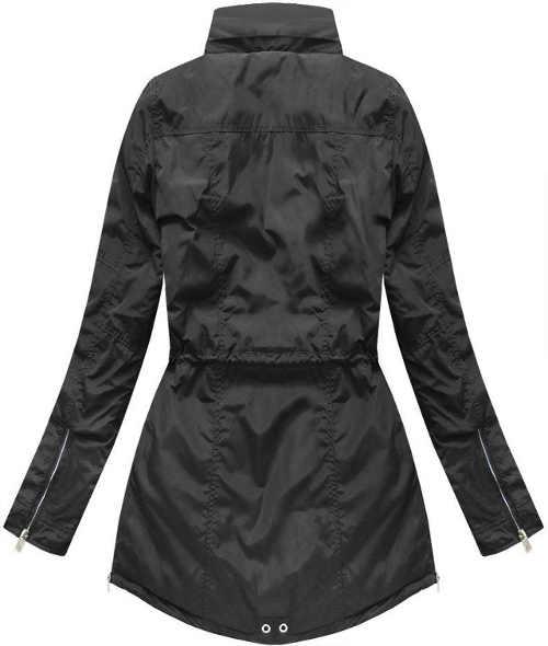 moderní černá dámská bunda delší