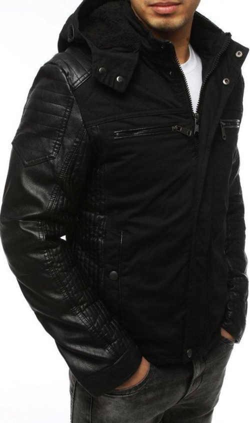 Moderní černá pánská zimní bunda levně