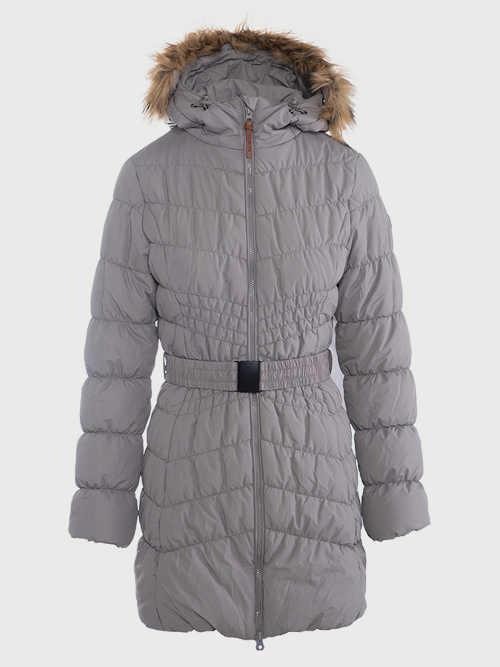 moderní prošívaný šedý kabát pro dámy