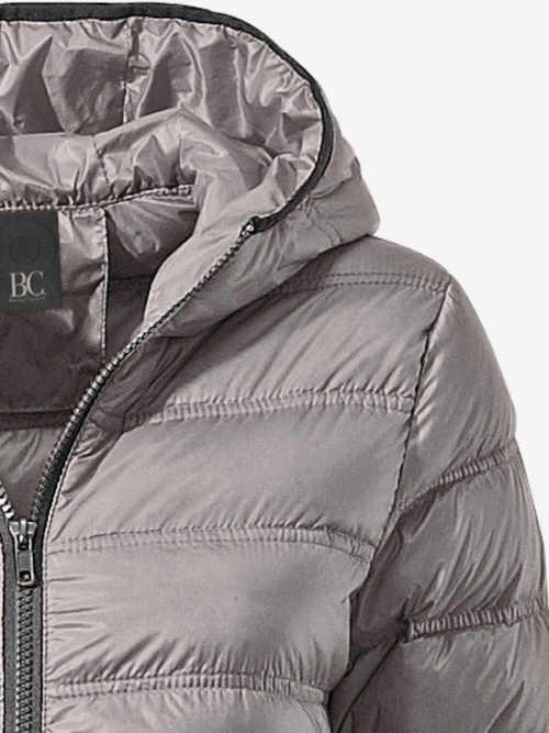 Moderní šedá péřová zimní bunda s kapucí