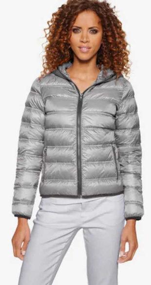 Moderní šedá prošívaná dámská bunda Heine s prachovým peřím