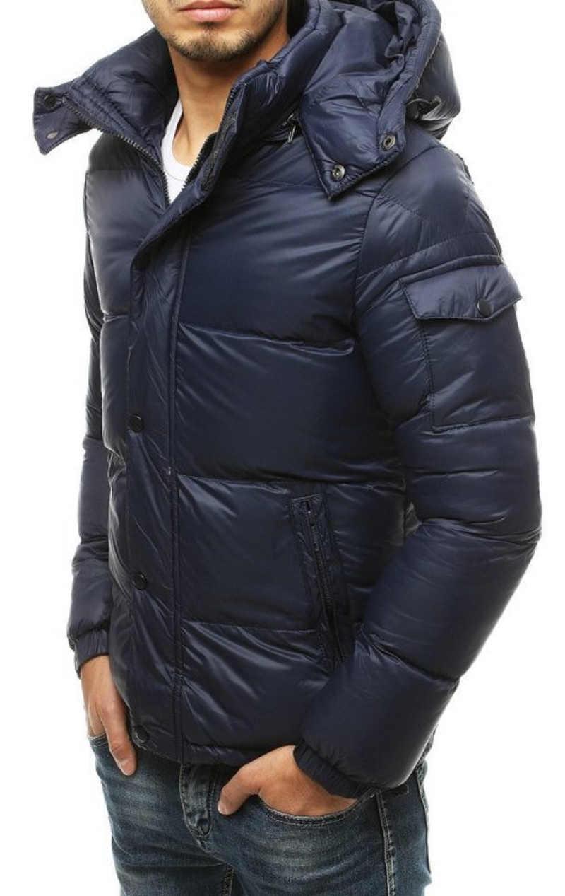 Modrá vypasovaná pánská zimní bunda
