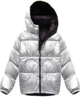 Oboustranná stříbrná a tmavě fialová péřová dámská zimní bunda