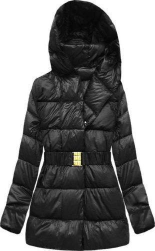 Prošívaná černá bunda s přírodní péřovou výplní