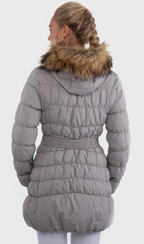 šedý dámský kabát ve sportovním střihu