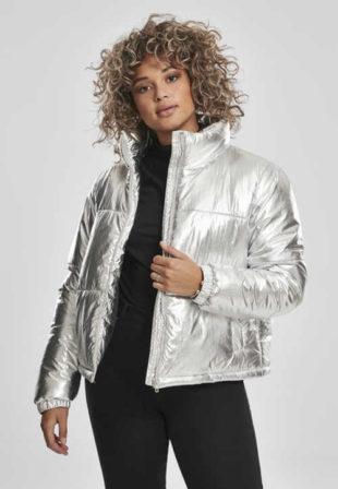 stylová prošívaná bunda v moderní stříbrné barvě