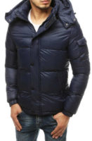 Teplá tmavě modrá prošívaná pánská bunda