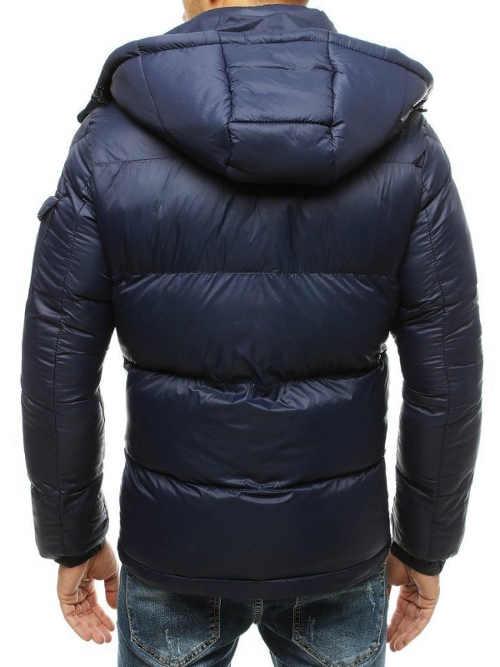 Tmavě modrá prošívaná pánská zimní bunda s kapucí